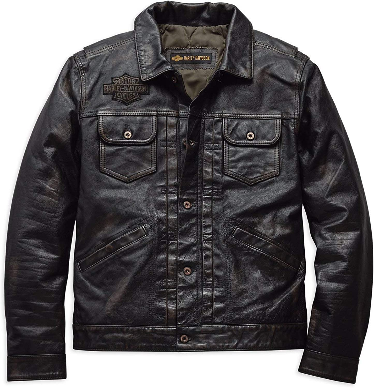 Harley Davidson Men S Digger Slim Fit Leather Jacket 98036 19vm Bekleidung