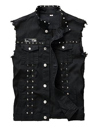 2542d5606be DSDZ Men s Punk Denim Vest Sleeveless Jean Jackets with Rivets at Amazon Men s  Clothing store