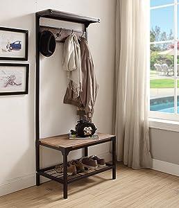 eHomeProducts Vintage Dark Brown Industrial Look Entryway Shoe Bench with Coat Rack Hall Tree Storage Organizer 8 Hooks in Black Metal Finish