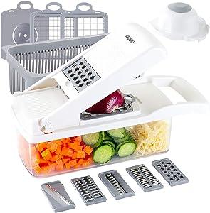 KEOUKE Vegetable Chopper Slicer Dicer - 12-in-1 Fruits Cutter Mandoline Slicer Food Chopper/Cutter with 7 Stainless Steel Blades, Adjustable Slicer & Dicer with Storage Container