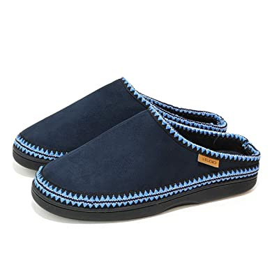 BCSTUDIO Men's Cozy Microsuede Clog Home Slippers with Jacquard Ribbon, Casual Memory Foam House Shoes Indoor Outdoor with Anti-Slip Rubber Sole | Slippers