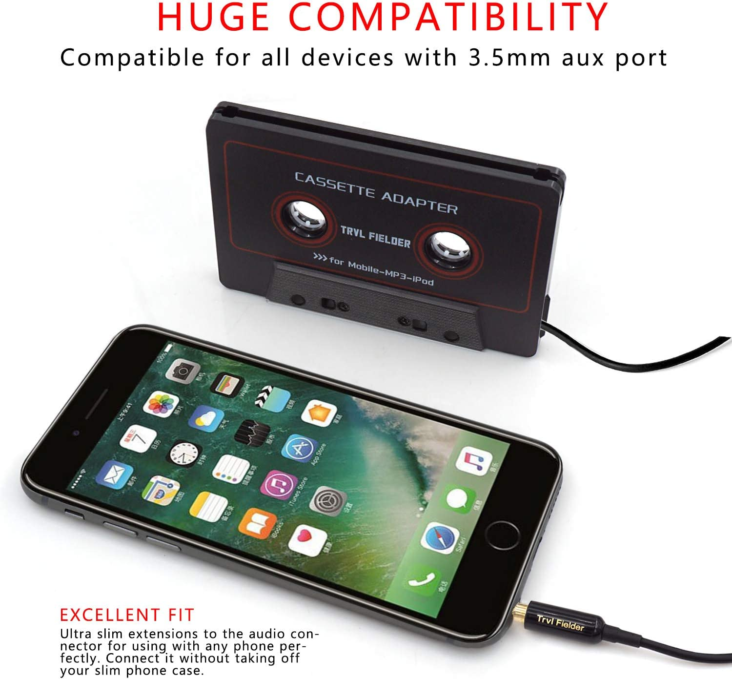 Vintage//Retro Music Converter Smartphones Reshow Cassette Adapter for Cars White MP3 Players or a Walkman in a Standard Vehicle Cassette Player Listen to iPods