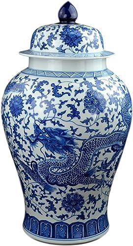 Festcool 24″ Classic Blue and White Dragon Porcelain Ceramic Temple Ginger Jar Vase