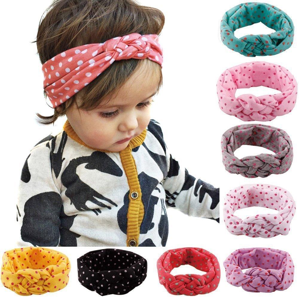 Lucky Will Lot de 8 croix mignon polka dot Noeud Coton Bandeau élastique bande de cheveux Bandeau Coiffe cheveux Pinces à cheveux nœuds pour les bébés