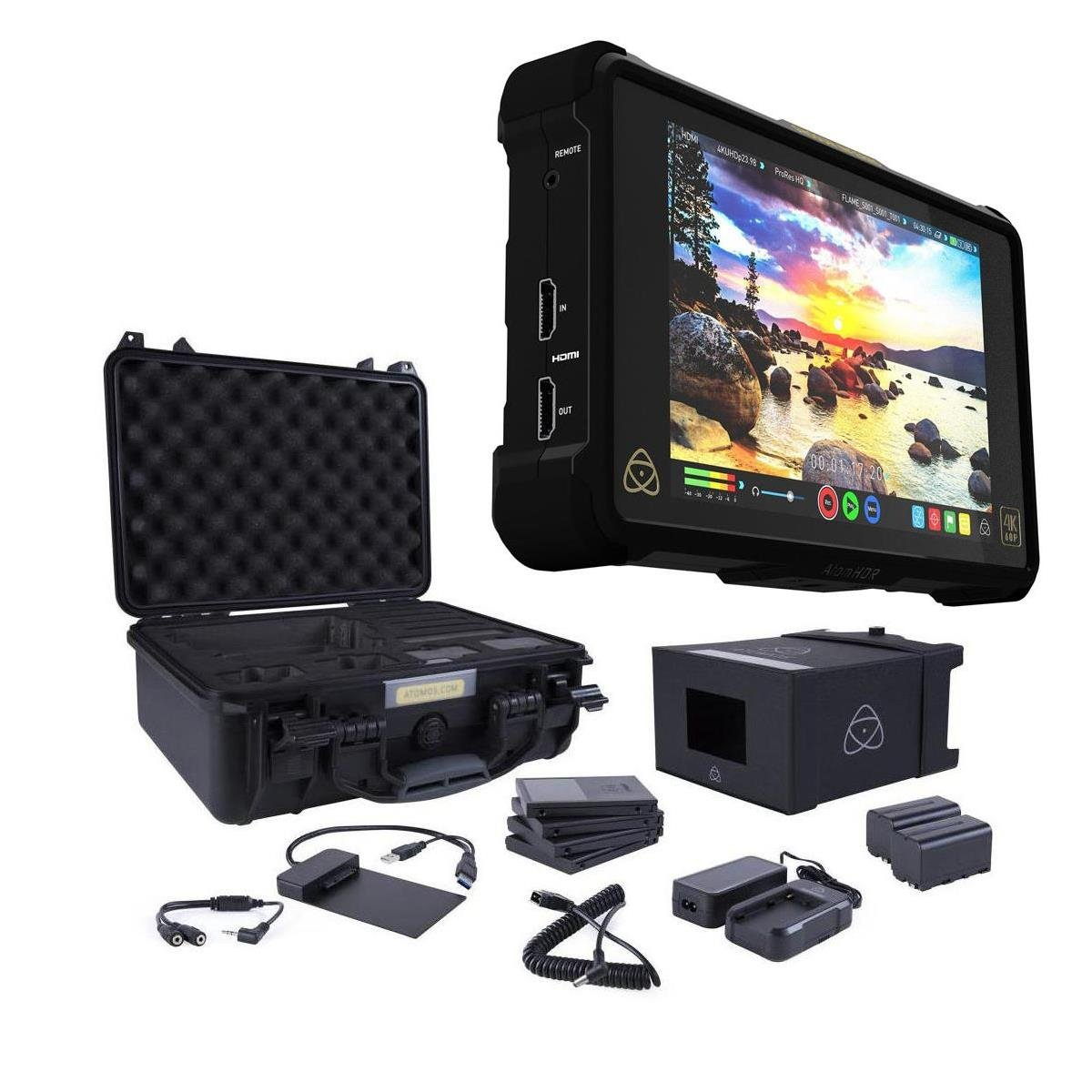 """Atomos Shogun Inferno 7"""" with Accessories Kit - Includes 2X Batteries with Fast Charger, 4X Master Caddies, Docking Station, HDR Sunhood, Power Supply, Control Cable, and Hard Case"""
