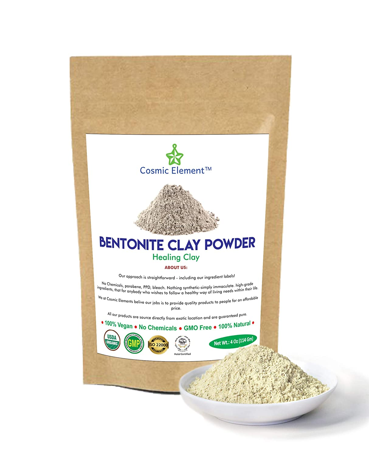 Cosmic Element Bentonite Clay Powder 100% Pure & Unrefined 4 Ounce Premium Food Grade Calcium Bentonite Clay - Heavy Metal Detox and Cleanse