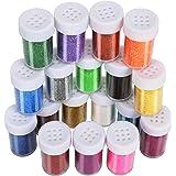 LEOBRO 18 Pack Glitter for Slime, LEOBRO Decorative Glitter, Slime Glitter, Multi Assorted Set Extra Fine Glitter Shake…