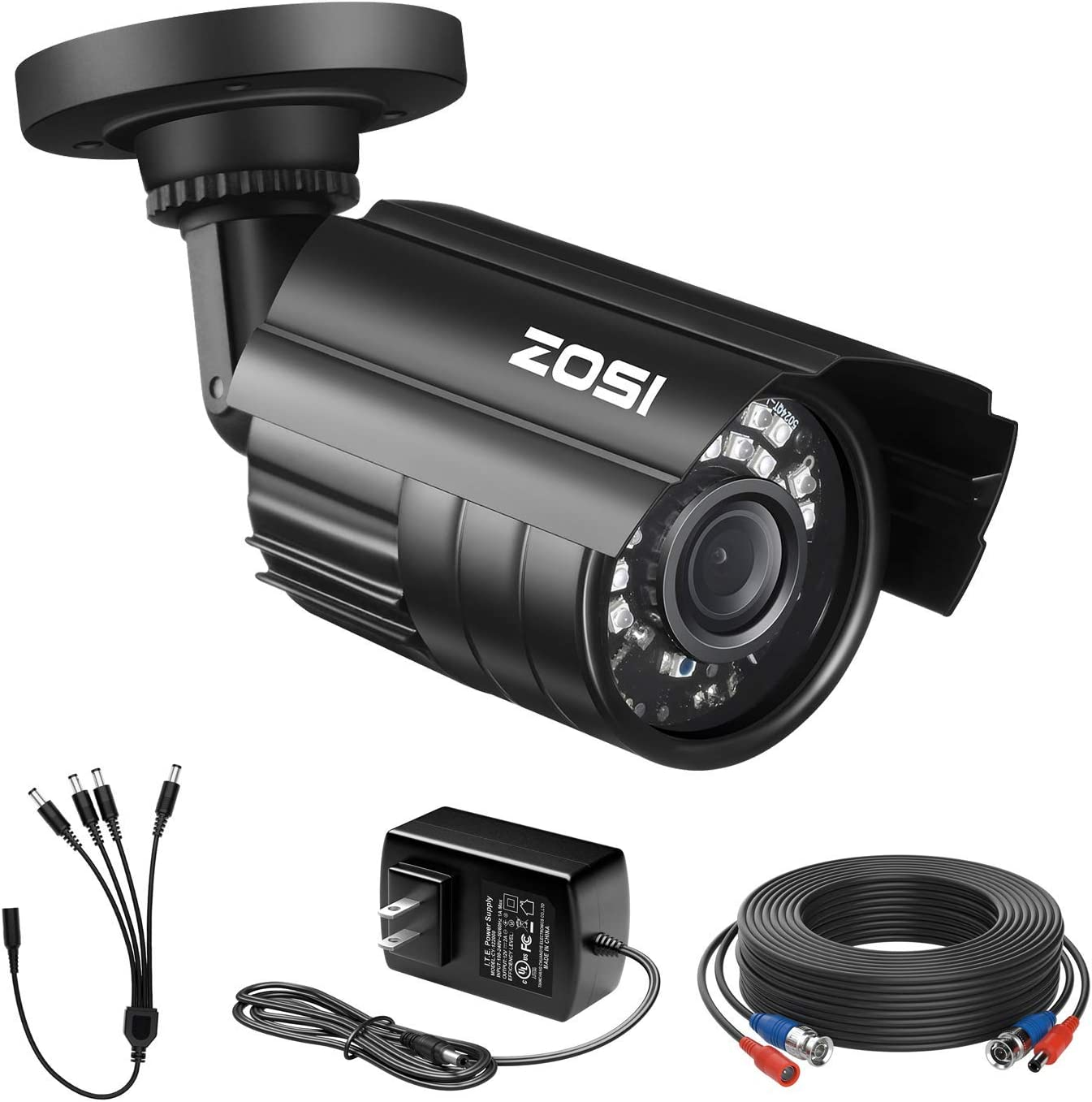ZOSI 1080P 4-in-1 Security Bullet Camera with CCTV BNC Cable, 12V 2A Power Supply & 1 to 4 Power Splitter Cable, Support TVI CVI AHD CVBS Home Office Outdoor Security System