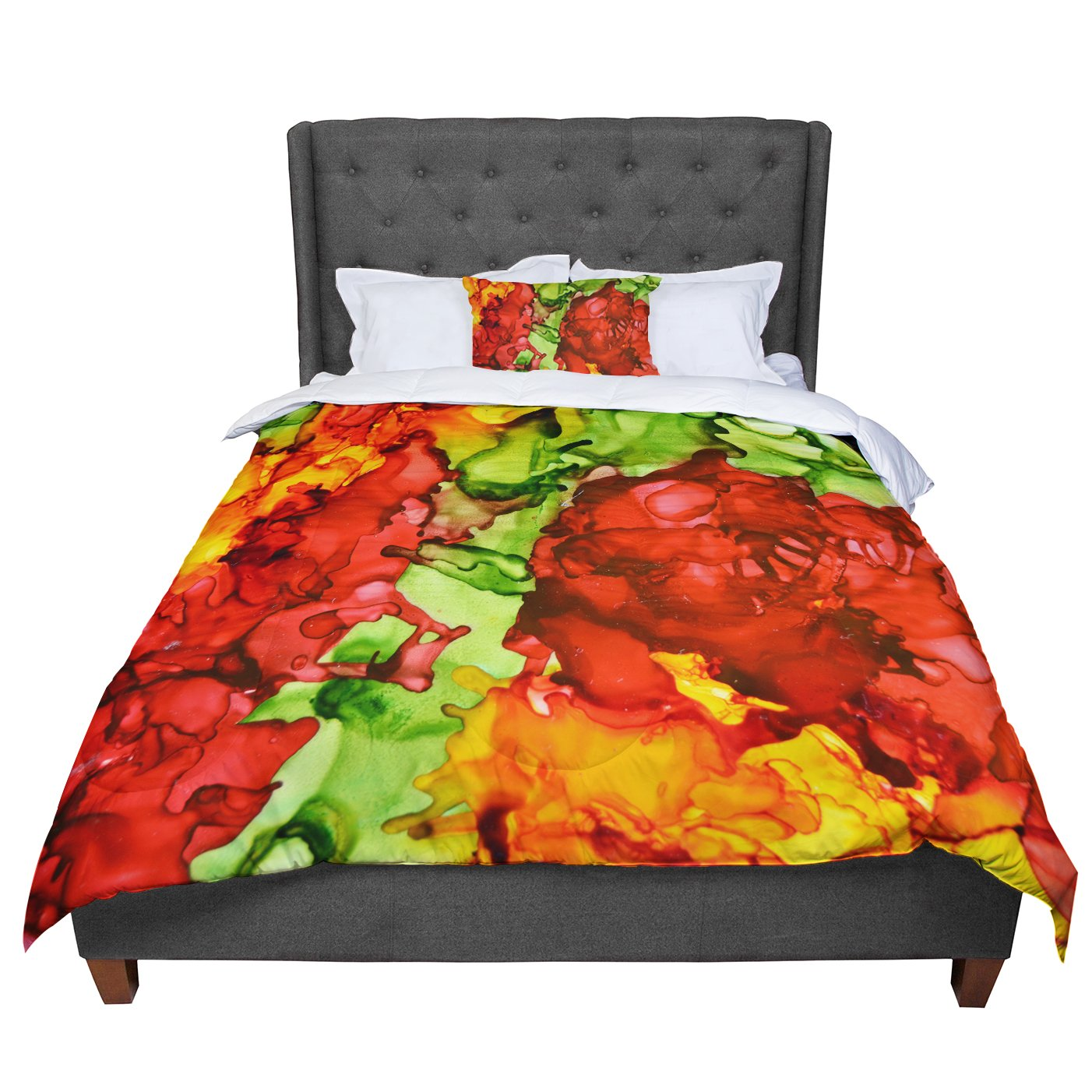 KESS InHouse Claire Day One Love Red Orange Twin Comforter 68 X 88