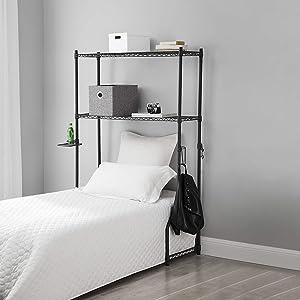 DormCo Over The Bed Shelf Supreme - Adjustable Shelving - Gunmetal Gray