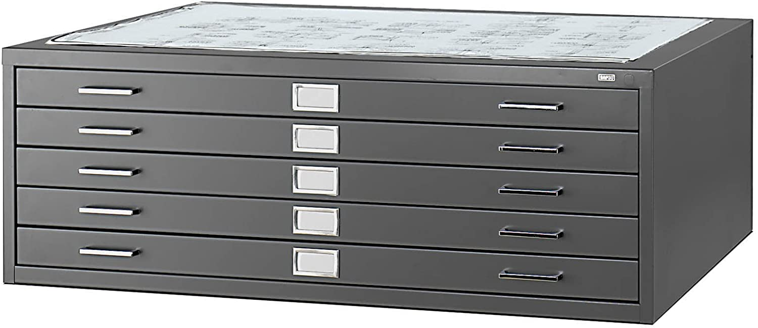 """Safco Products Flat File for 42""""W x 30""""D Documents, 5-Drawer (Additional options sold separately), Black"""