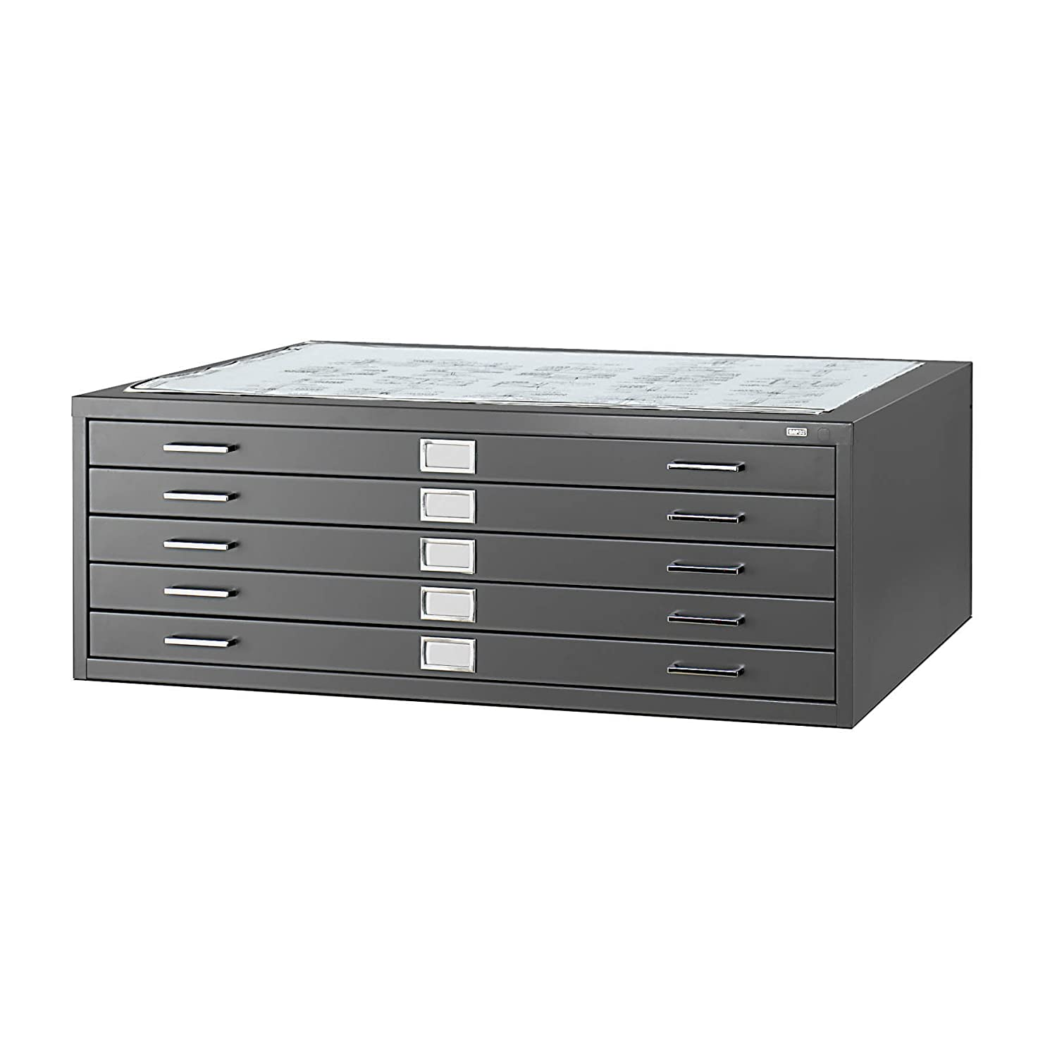 "Safco Products 4996BLR Flat File for 42"" W x 30"" D Documents 5 Drawer Additional options sold separately Black"