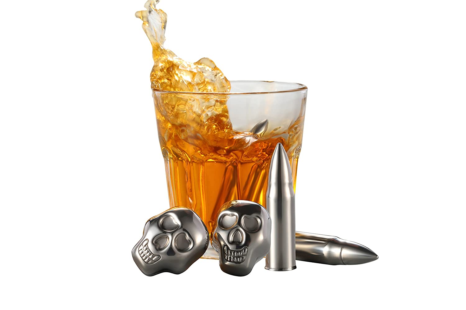 AmazeFan Food Grade Stainless Steel Wine Chilling Cubes, Multi Color Stainless Steel Reusable Wine Ice Cubes, Chilling Rocks, Wiskey Stones Pack of 8 (4 Skulls plus 4 Bullets) NbTech