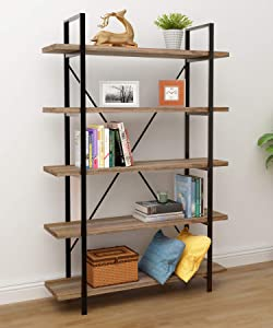 45MinST 5-Tier Vintage Industrial Style Bookcase/Metal and Wood Bookshelf Furniture for Collection,Vintage Brown, 4/5 Tier (5-Tier)