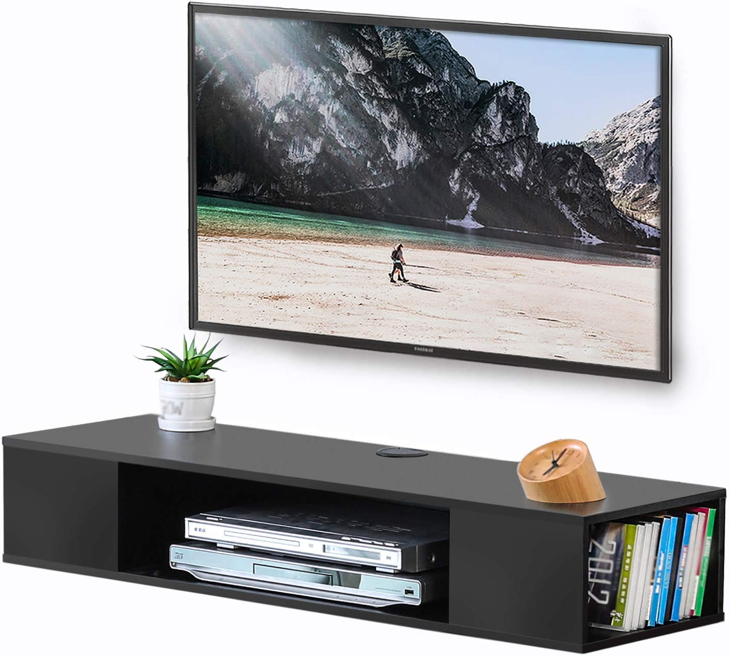 Fitueyes Black Wall Mounted Media Console Floating Tv Stand Component Shelf Ds210003wb Furniture Decor