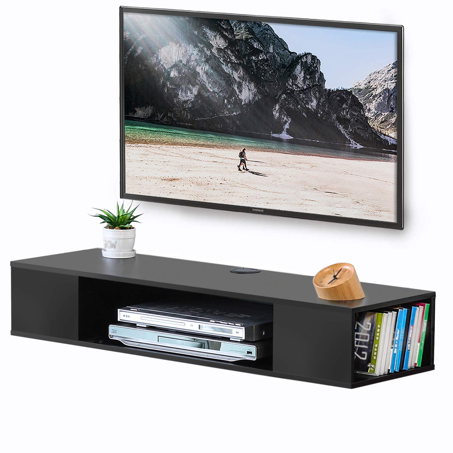 FITUEYES Black Wall Mounted Media Console Floating TV Stand Component Shelf DS210003WB by FITUEYES