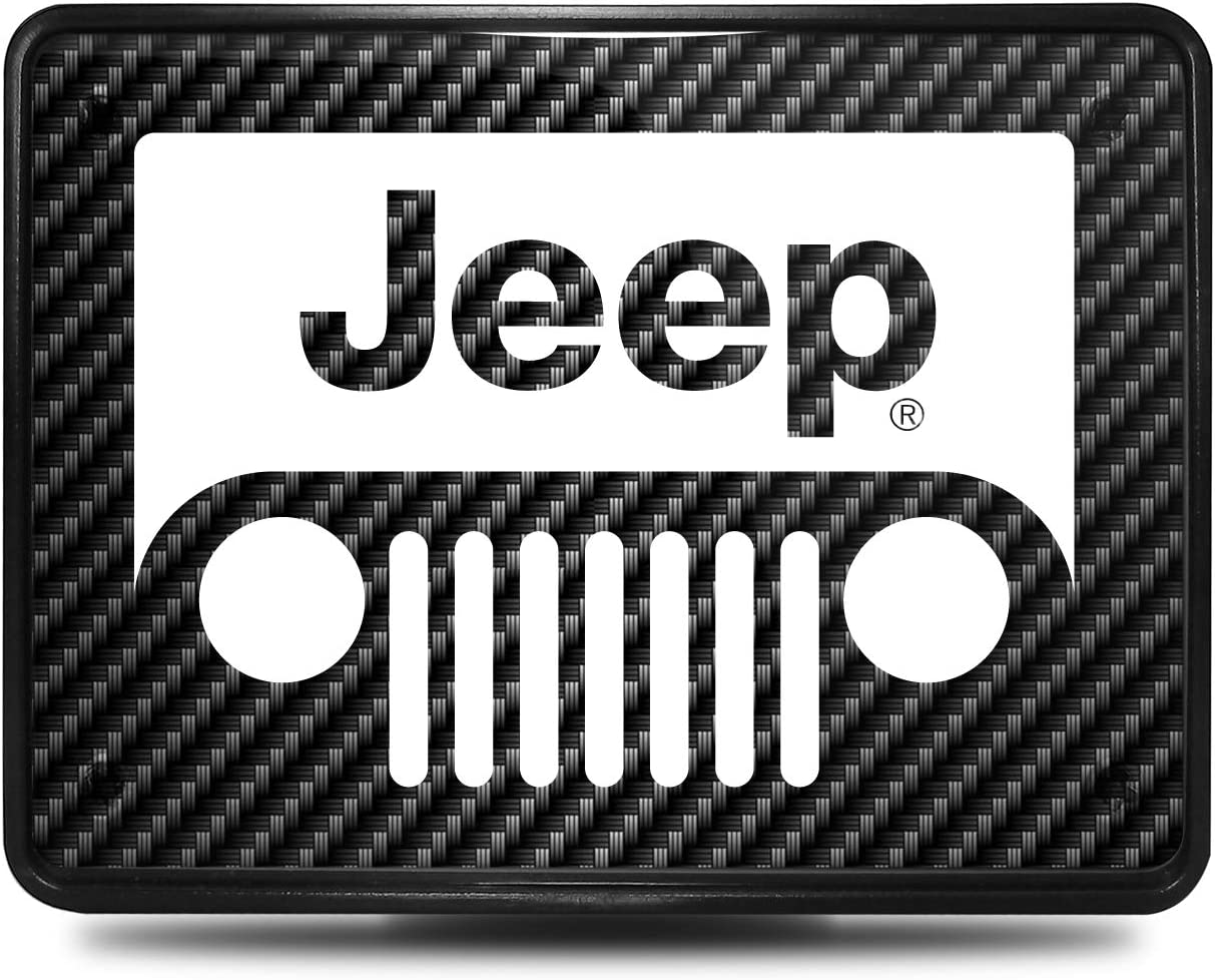 iPick Image for Jeep Grill UV Graphic Carbon Fiber Look Plastic Tow Hitch Cover