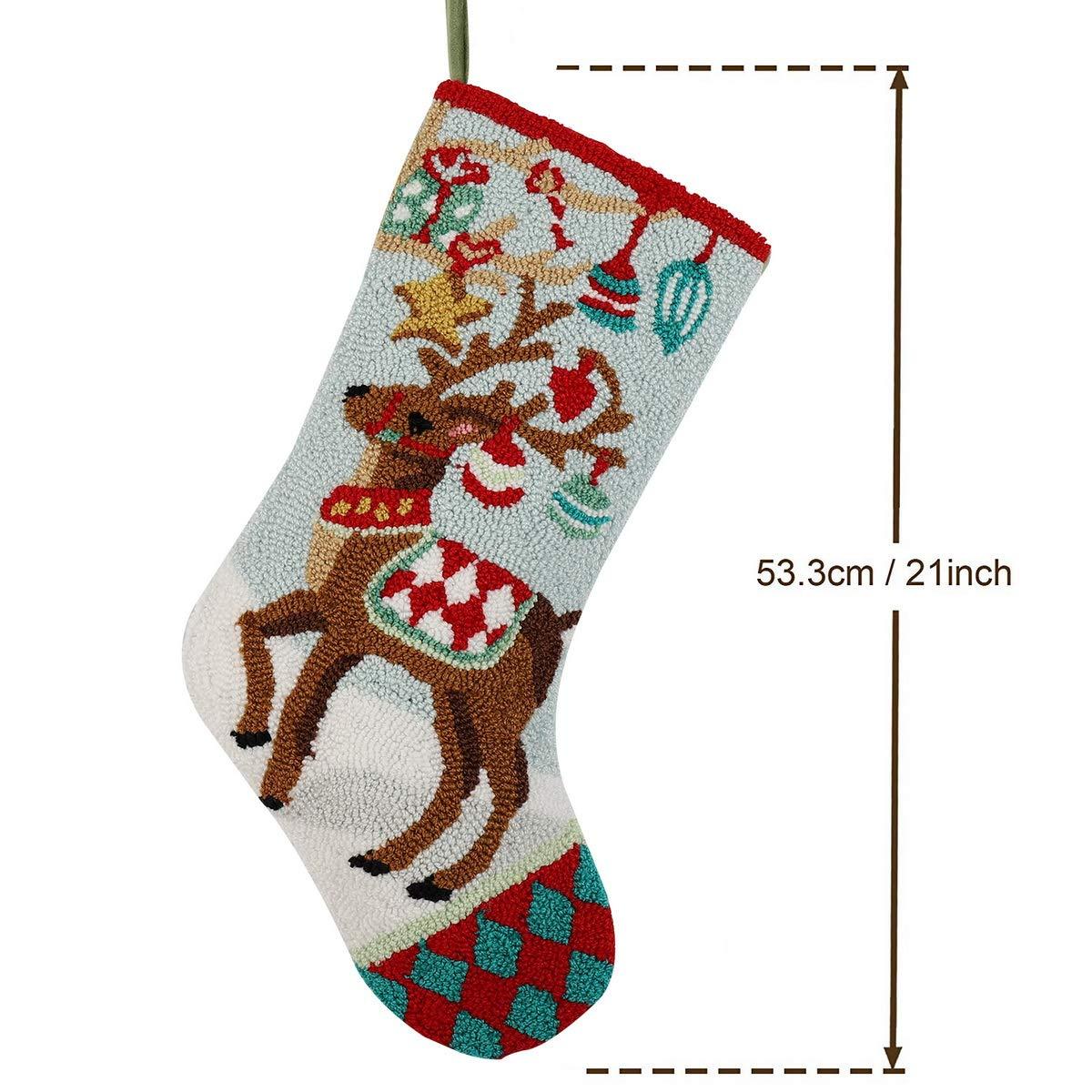 "Amazon.com: Alice Doria 21"" Handmade Hooked Reindeer Christmas ..."