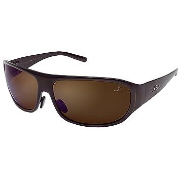 Xezo Base curva 8, Titanio sólido UV 400 gafas de sol polarizadas con marrón lente