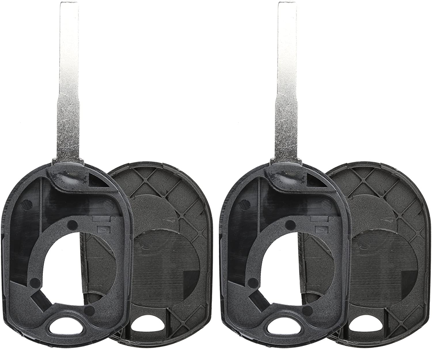 KeylessOption Keyless Entry Remote High Sec Ignition Key Blade Fob Shell Case Cover for Ford Pack of 2