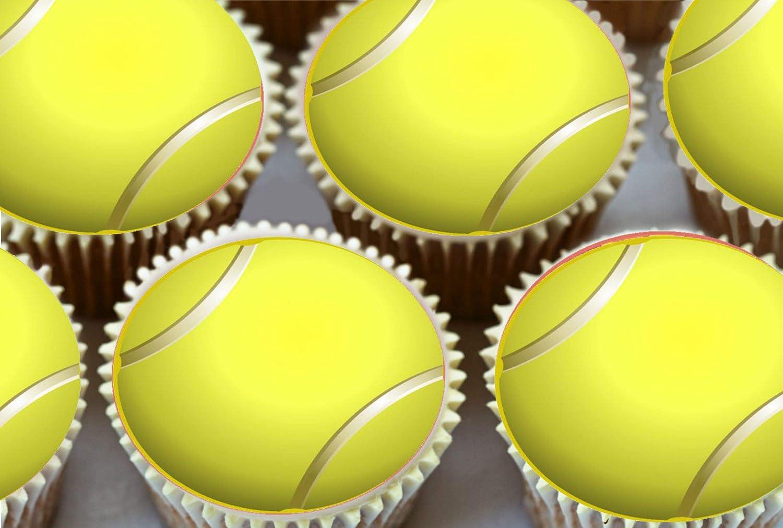 24 x 3,81 cm de pelotas de tenis comestible taza de la torta ...