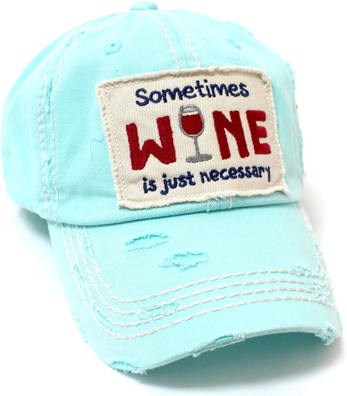 CAPS 'N VINTAGE Women's Ballcap Sometimes Wine is Just Necessary Patch Embroidery Hat, ICY Blue