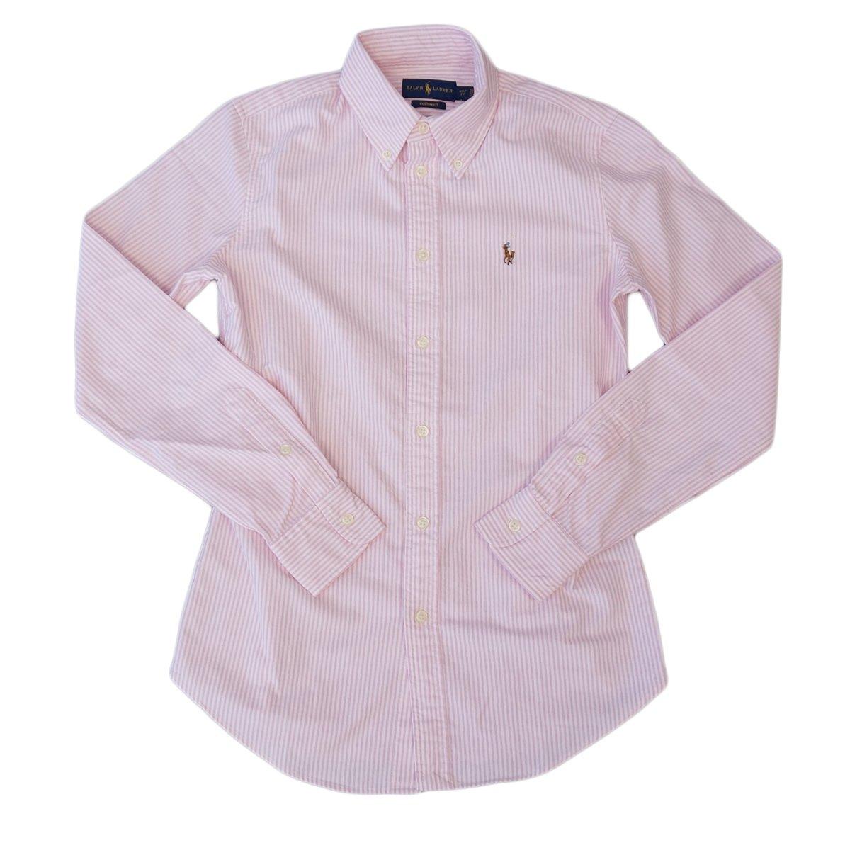 (ポロ ラルフローレン) POLO Ralph Lauren 長袖 シャツ ワンポイント ワイシャツ レディース オックスフォード [並行輸入品] B0151N4BBO XL|ピンク/ホワイト ピンク/ホワイト XL