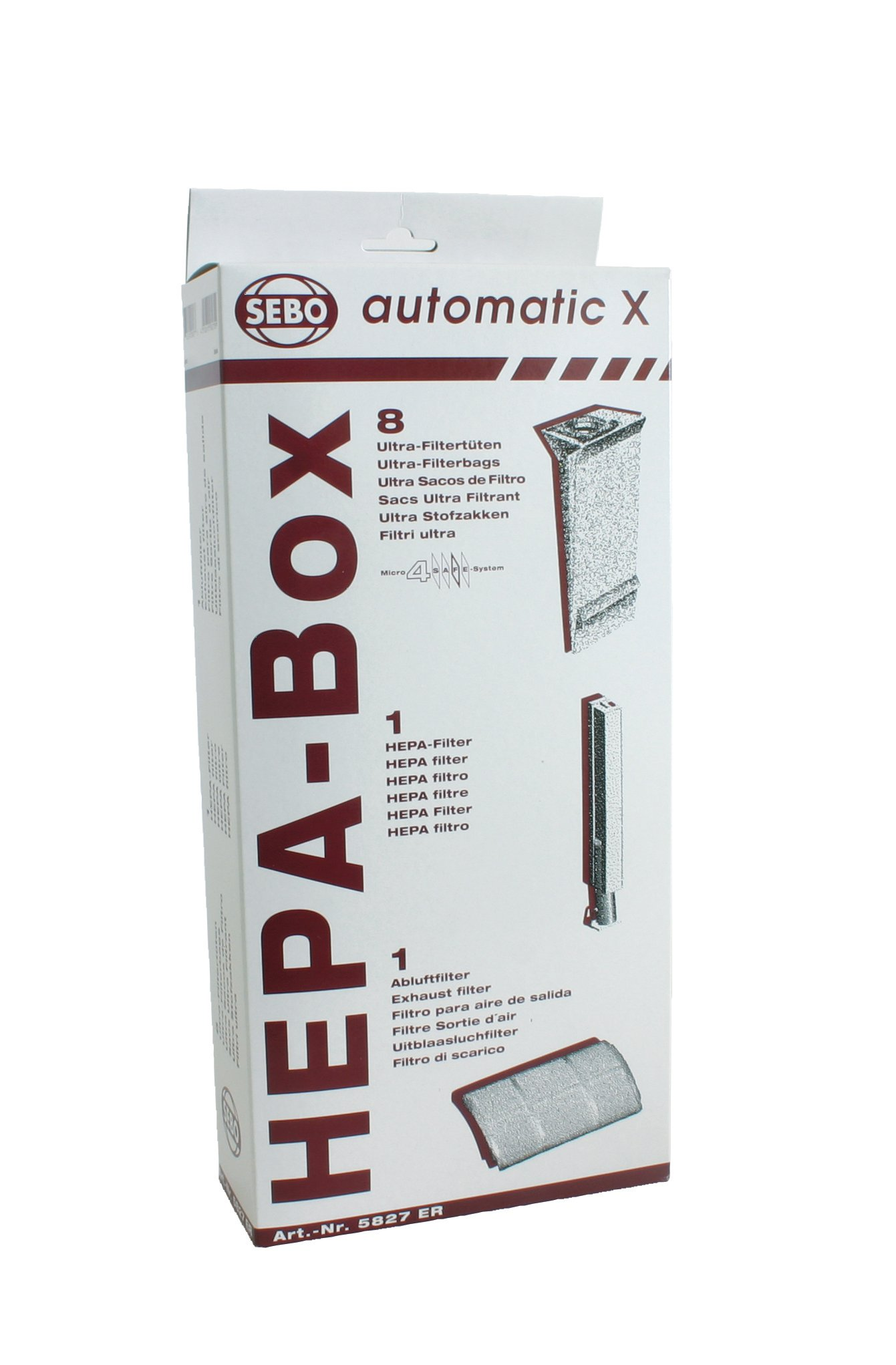 Sebo 5827ER HEPA Service Box for X Series Vacuum with 8 Ultra Bags, Exhaust Filter and HEPA Microfilter by Sebo