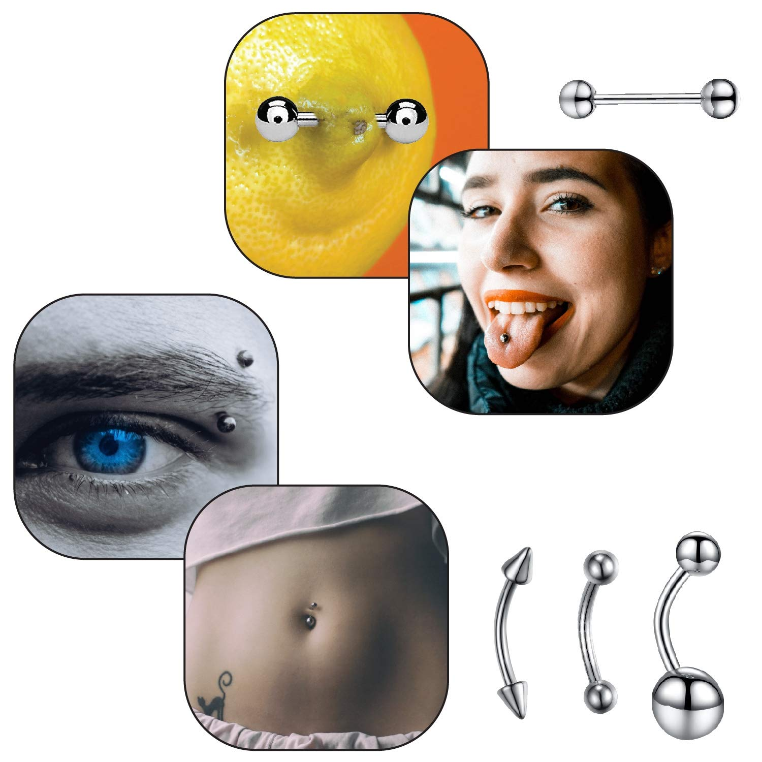 BodyJ4You 36PC PRO Piercing Kit Stainless Steel 14G 16G Belly Ring Tongue Nipple Nose Jewelry