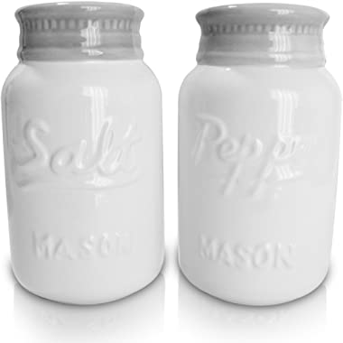 Vintage Style, Ceramic Salt and Pepper Shakers (Large 8 oz), Mason Jar Inspired - Set of 2 | Modern Farmhouse | Retro, Decorative, Durable and Functional by My Fancy Farmhouse (White)