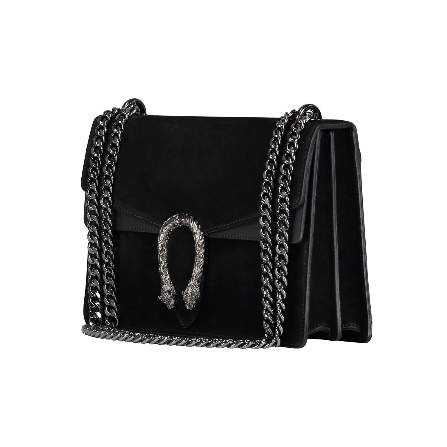 ad0023b71a52 RACHEL Italian Baugette clutch mini wallet cross body bag with nickel chain  smooth stiff leather and suede (black): Handbags: Amazon.com