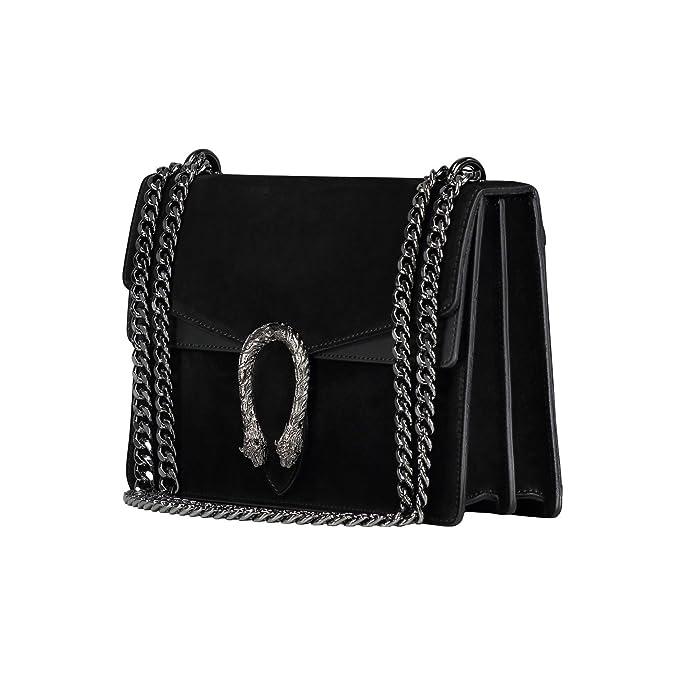 4446b757168a81 RACHEL Italian Baugette clutch mini wallet cross body bag with nickel chain  smooth stiff leather and suede (black): Handbags: Amazon.com