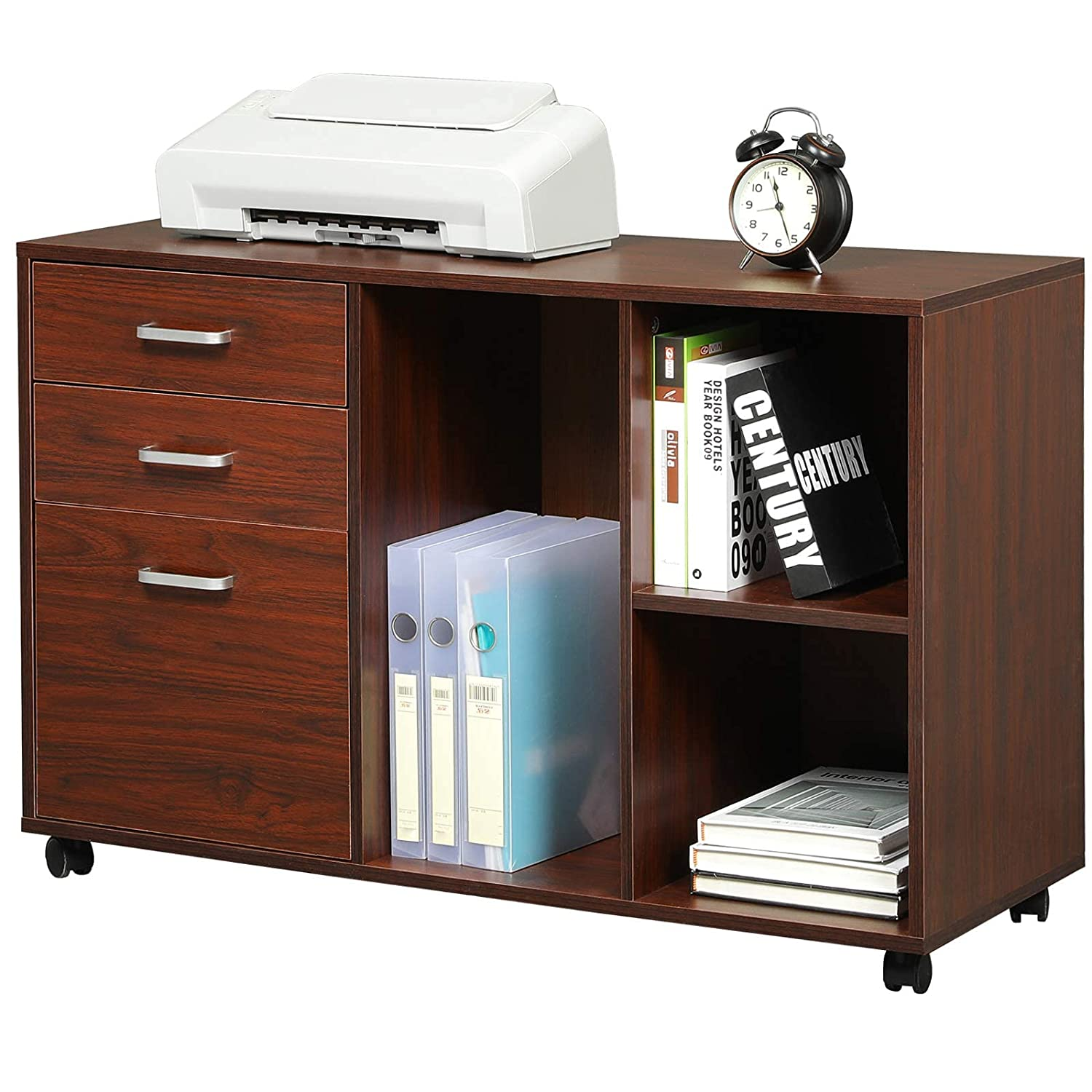 Itaar 3 Drawer Wood File Cabinet Mobile Lateral Filing Cabinet Printer Stand With Wheels Open Storage Shelves For Home Office Study Bedroom Cherry Red Amazon In Office Products