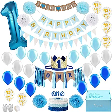 Crazy-m Jungen 1. Geburtstag Party Luftballons Set Happy Birthday Baby Boy  Supplies für Junge o Mädchen Kindergeburtstag Deko Jungen Mädchen 1 Jahr  (Blau) , Perfekte Dekoration für Babyparty: Amazon.de: Spielzeug