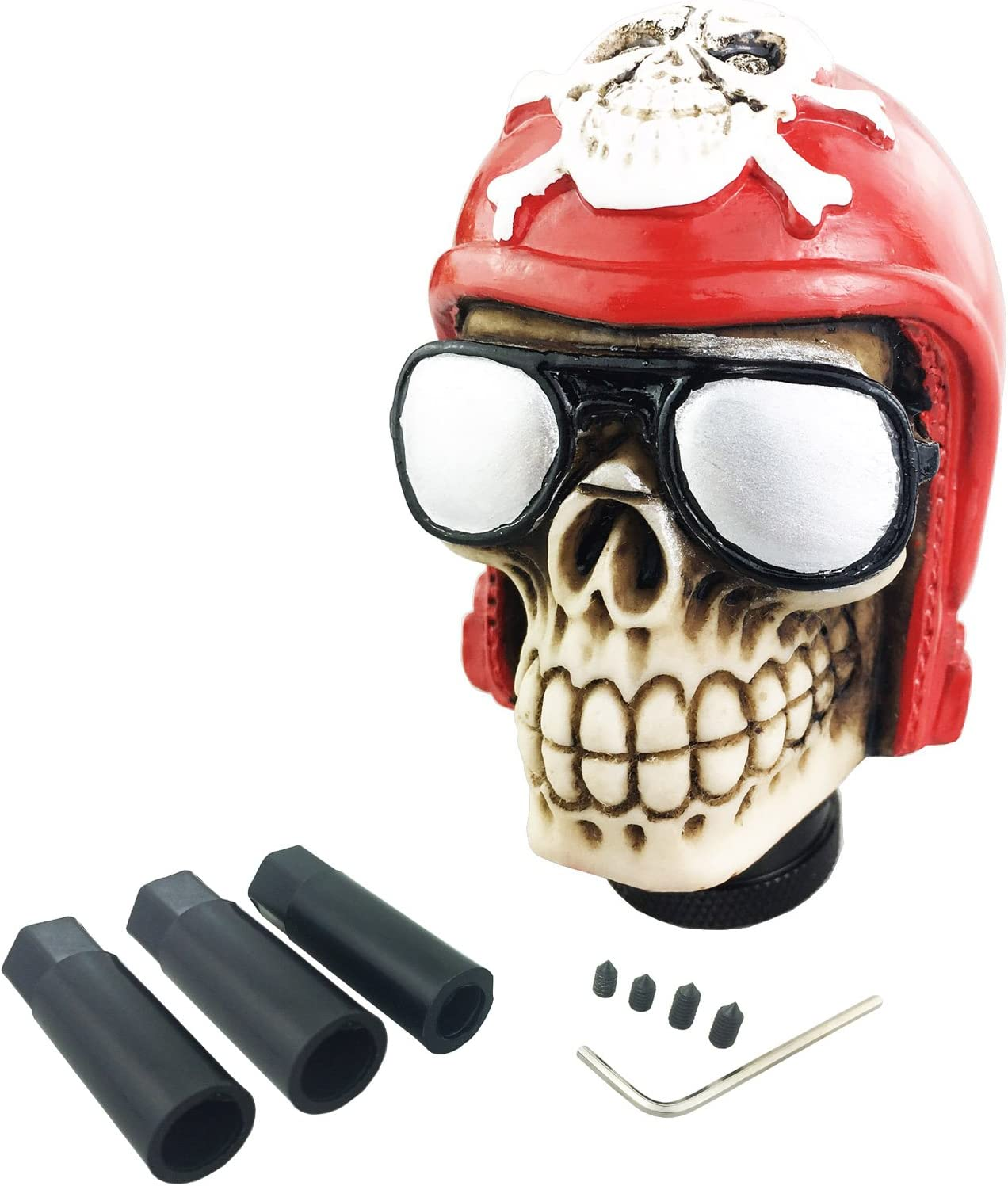 Arenbel Skull Manual Gear Knob Pattern Style Stick Shift Knobs Lever Shifting Shifter Head fit Most Automatic Cars Red