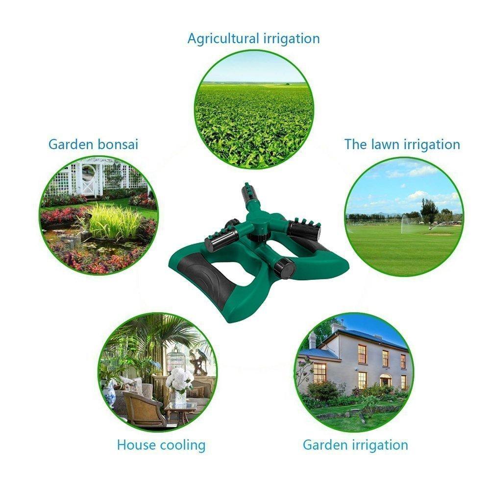 Lawn Sprinkler -Garden Sprinklers Automatic 360 Rotating Adjustable Garden Hose Watering Sprinkler System,Covering Large Area with Leak Free Design Durable 3 Arm Sprayer(Green) by Geelyda (Image #3)
