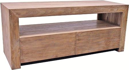 De madera de teca mueble bajo para televisor Cougar ZE12 madera de teca antigua de madera maciza de - 130 cm - de la vendimia del estante de cómoda de TV: Amazon.es: Hogar