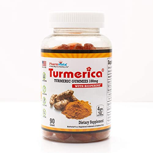 Turmerica – Turmeric Curcumin Gummies 100mg with BioPerine Black Pepper for Enhanced Absorption, 90 Count, Made in USA