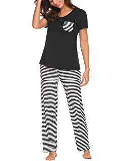 0eed8985a4 Hotouch Womens Pajama Set Striped Short Sleeve Top   Pants Sleepwear Pjs  Sets