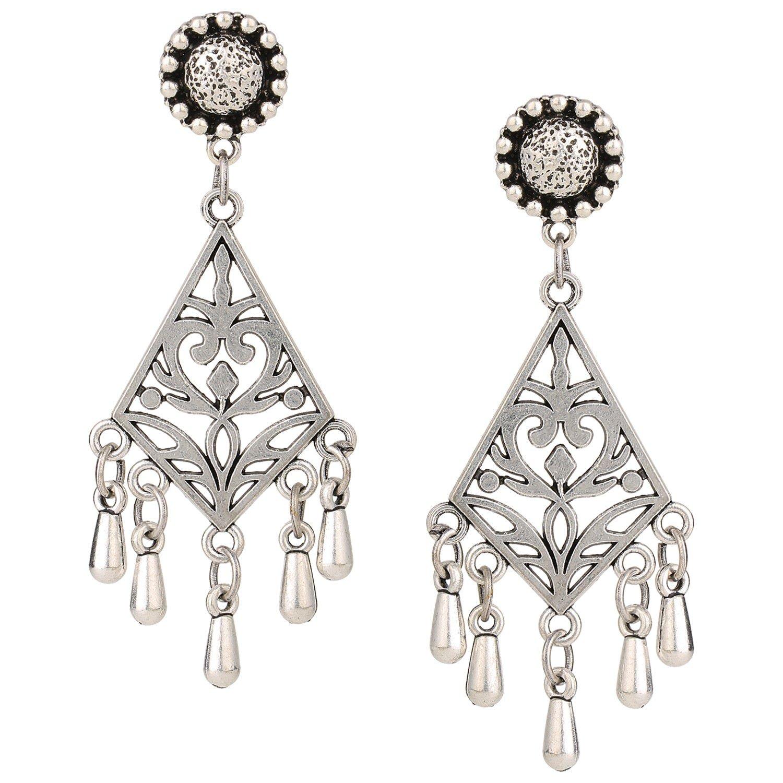 Efulgenz Indian Vintage Retro Ethnic Gypsy Oxidized Silver Tone Boho Filigree Dangle Drop Earrings for Girls and Women Love Gift
