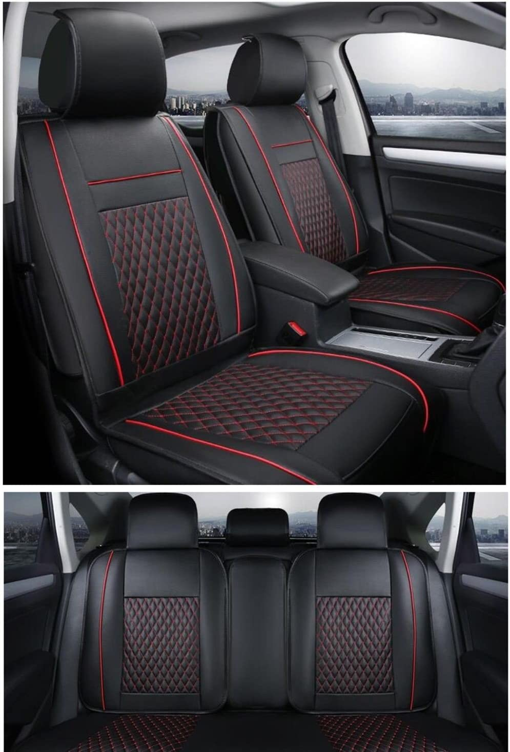 flexzon Universal Deluxe Quality Black PU Leather Full Set Car Van Camper Seat Covers Padded