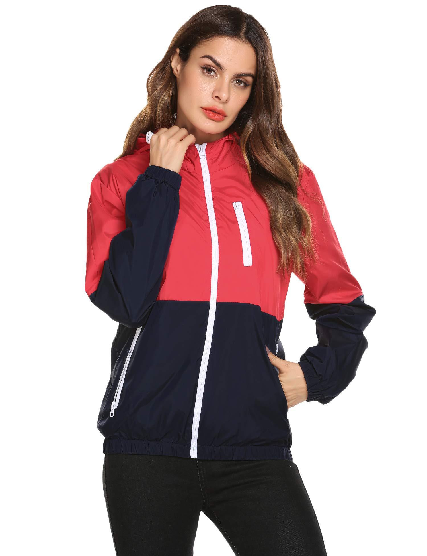 Womens Fall Lightweight Bomber Jacket Hooded Packable Biker Short Coat Outwear