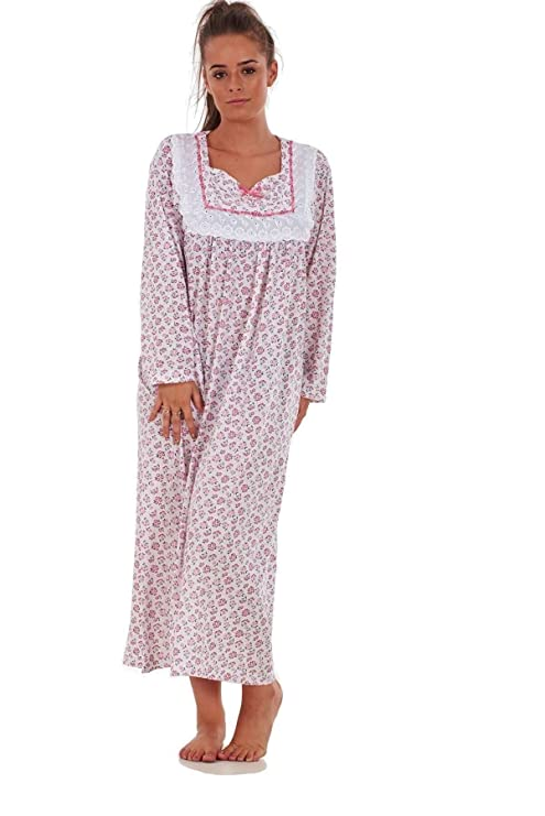 ... Bay eCom UK Women Nightwear Floral Print 100% Cotton Long Sleeve Long  Nightdress M to ... c670039b6