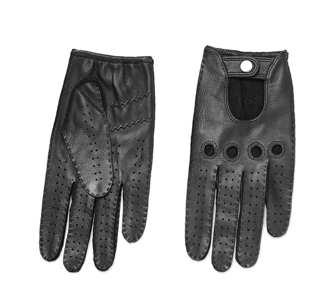 Men's Winter Retro Style Deerskin Real Leather Sports Gloves Driving Motorcycle,S,black