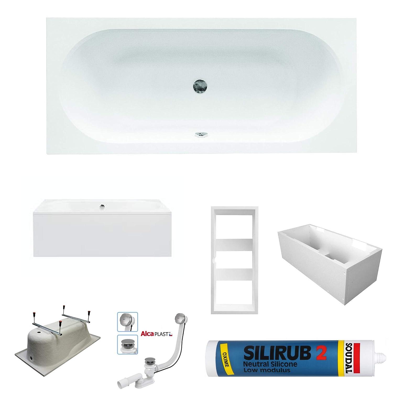 PREMIUM Rechteck Badewanne Wanne STONE 160x75 cm mit Ablaufgarnitur Silikon Fü ß en   Acryl 5 mm   Komplettset - ohne Anfertigung bestshop24.eu