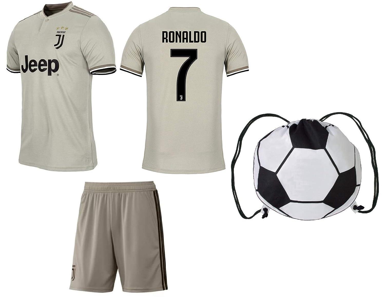 dfc02bdde7c Amazon.com   Cristiano Ronaldo Juventus  7 Youth Soccer Jersey Away Short  Sleeve Shorts Kit Kids Gift Set   Clothing