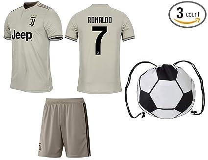 4172234b3 Cristiano Ronaldo Juventus  7 Youth Soccer Jersey Away Short Sleeve Shorts  Kit Kids Gift Set