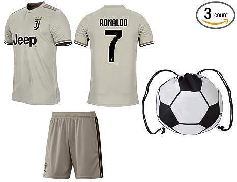 43c254da27f Cristiano Ronaldo Juventus #7 Youth Soccer Jersey Away Short Sleeve Shorts  Kit Kids Gift Set