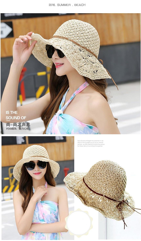 Women Floppy Hat Hollow Straw Hat Wide Beige Brim Beach Hat Sun Hat can be  Folded at Amazon Women s Clothing store  6cb13da27802