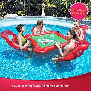 Flotador inflable gigante de la piscina de la mesa de póquer de Mahjong y 4 sillas